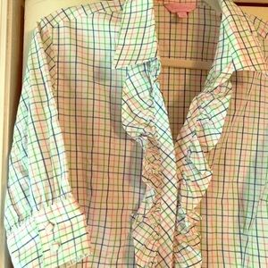 Lilly Pulitzer plaid ruffle blouse